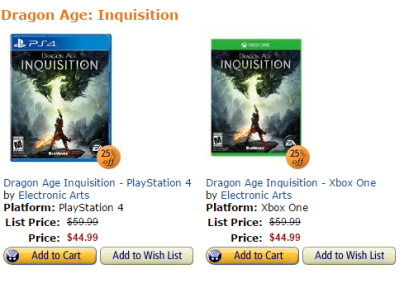 Dragon Age Amazon Deal
